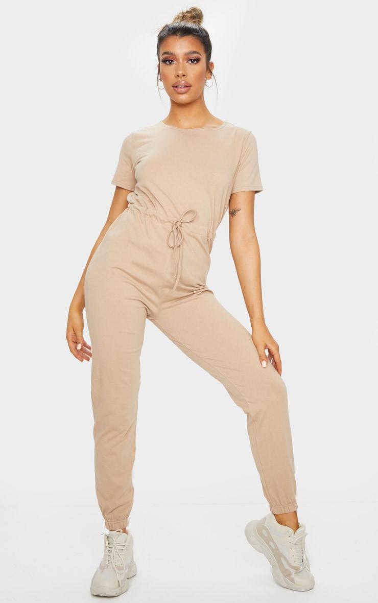 Stone Cotton Elastane Short Sleeve Jumpsuit 3