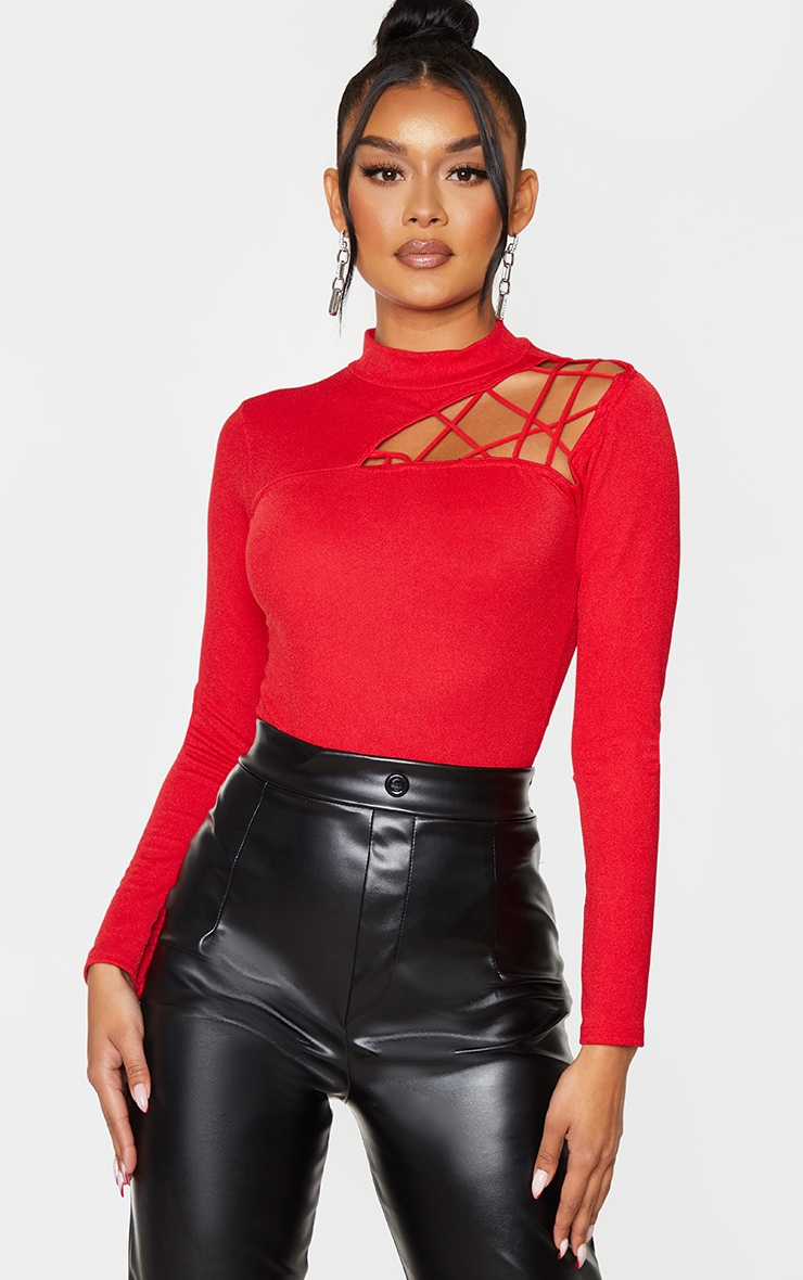 Red Cut Out Detail Crepe Bodysuit 1