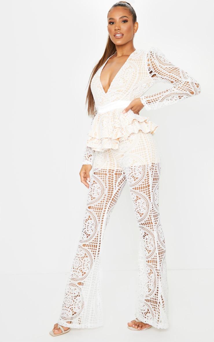 White Lace Peplum Detail Long Sleeve Jumpsuit 3