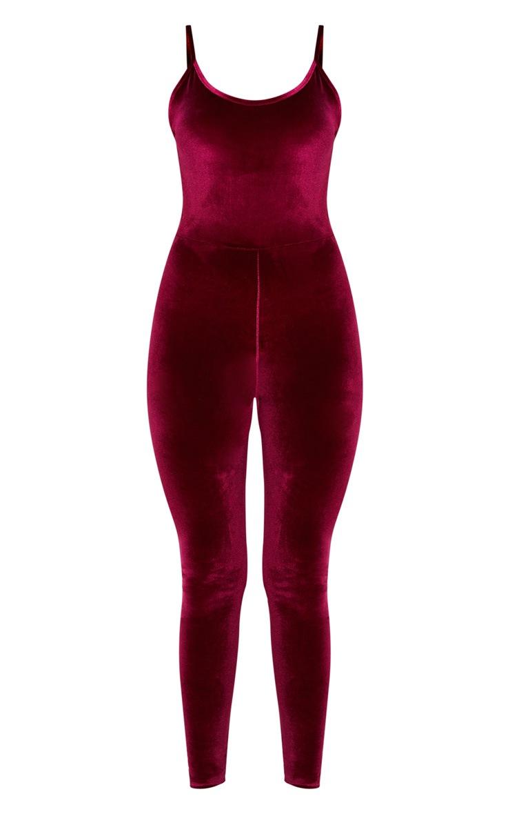 Burgundy Velvet Strappy Skinny Leg Jumpsuit 3