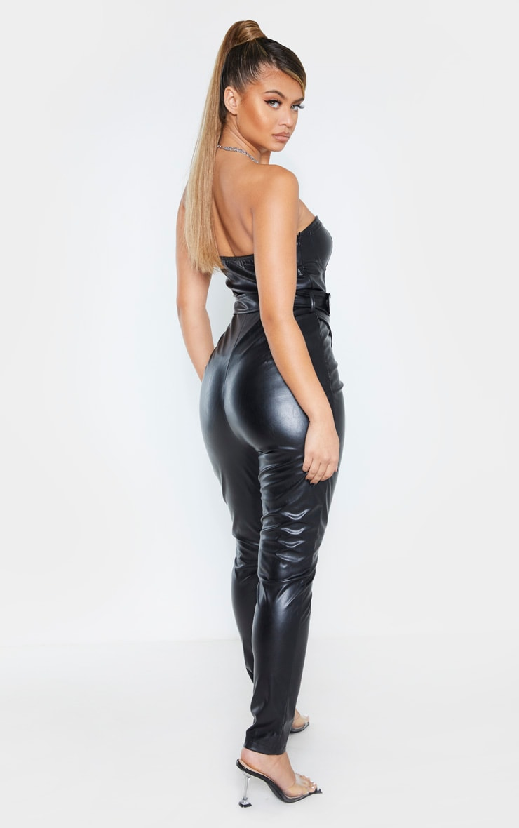 Black Faux Leather Belted Bandeau Jumpsuit 2
