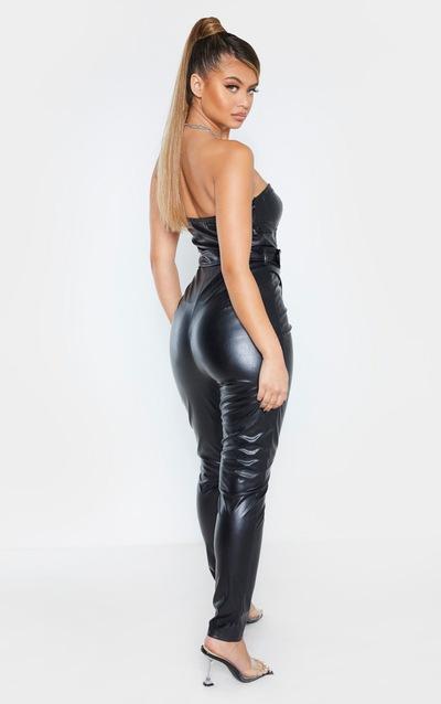 Black Faux Leather Belted Bandeau Jumpsuit