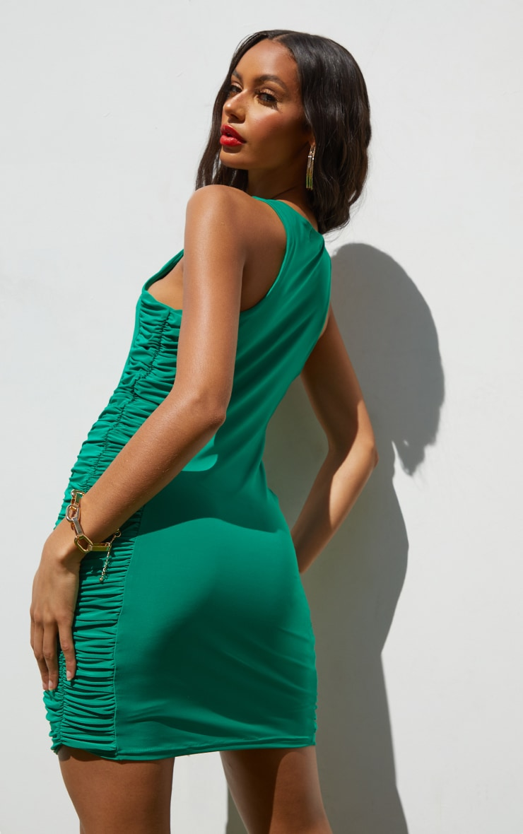 Green Slinky Racer Neck Ruched Side Bodycon Dress 2