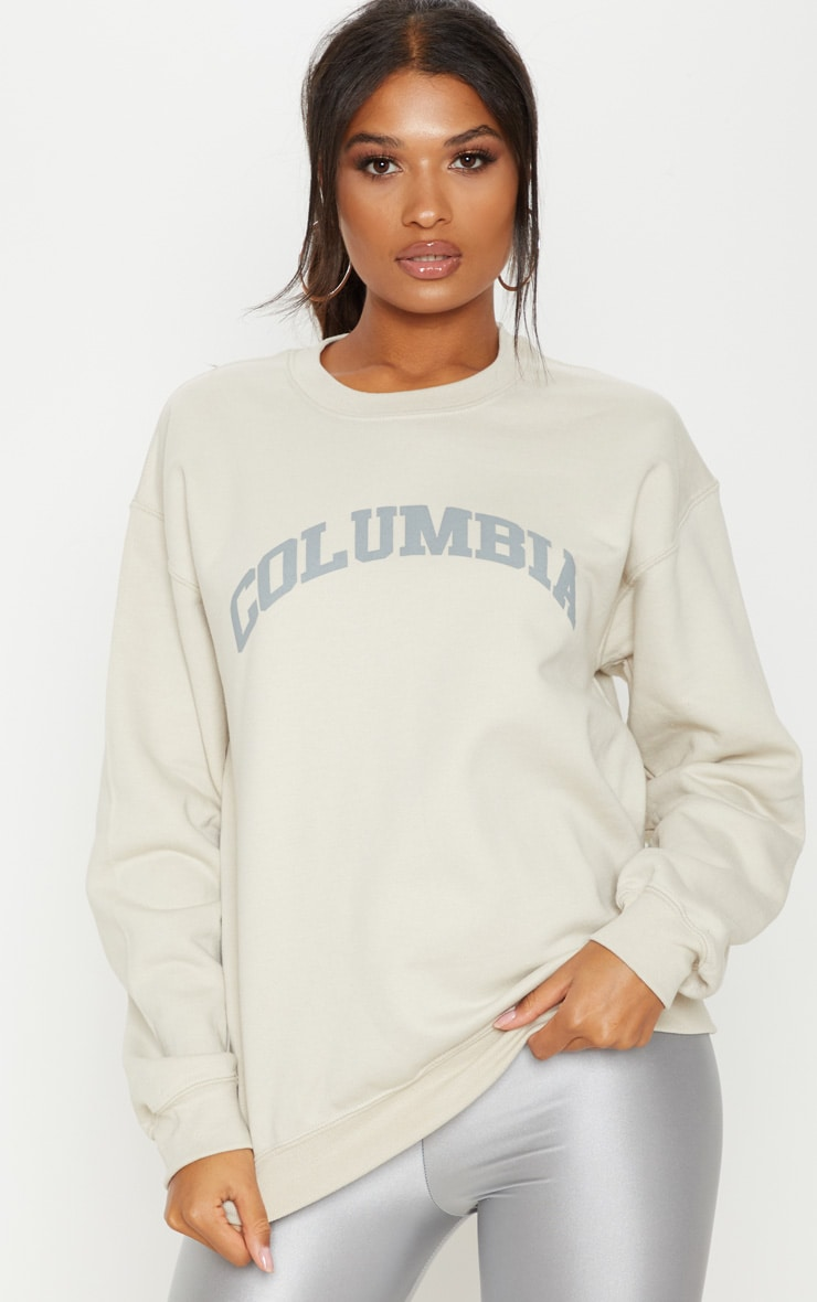 Sand Columbia Slogan Oversized Sweater