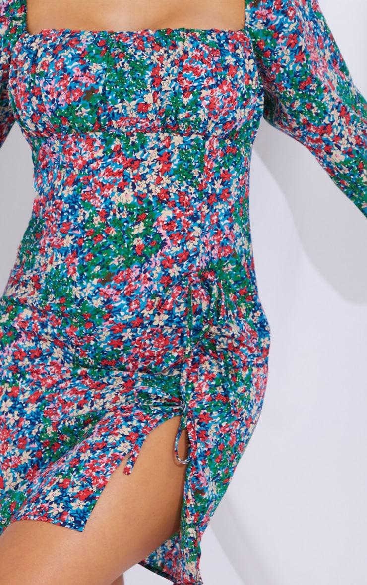 Multi Floral Print Bow Detail Side Split Bodycon Dress 4
