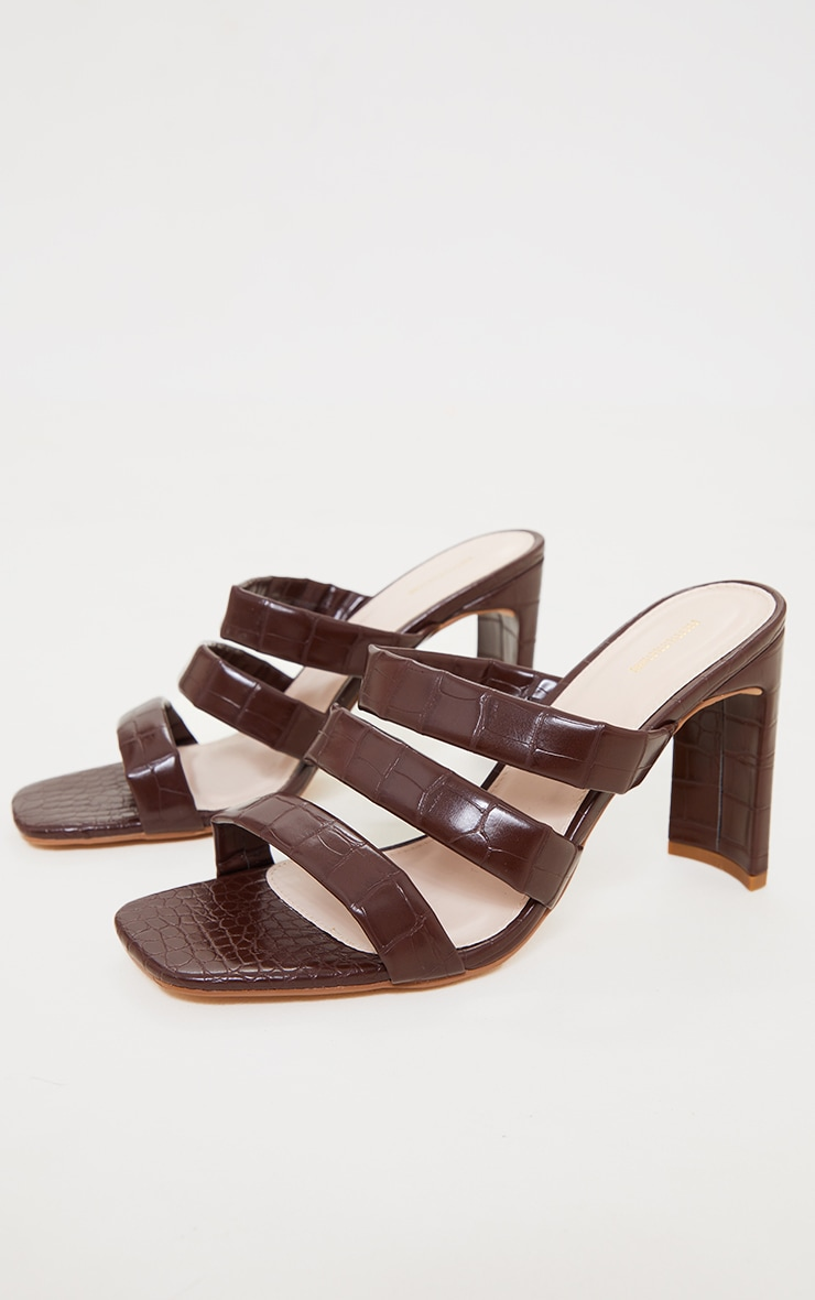 Chocolate PU Croc Triple Strap Flat Heeled Mules 3