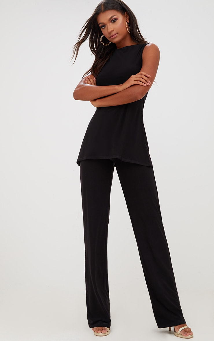 Black Double Layer Slinky Wide Leg Trousers 1