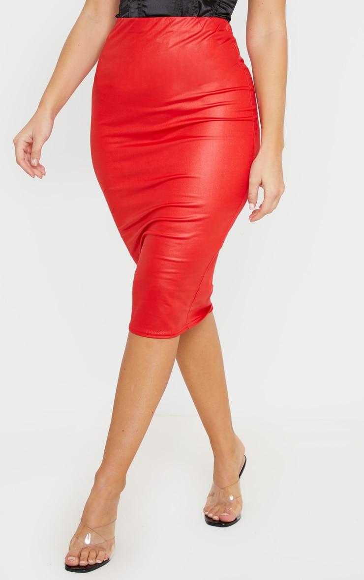 Red Wet Look Midi Skirt 2