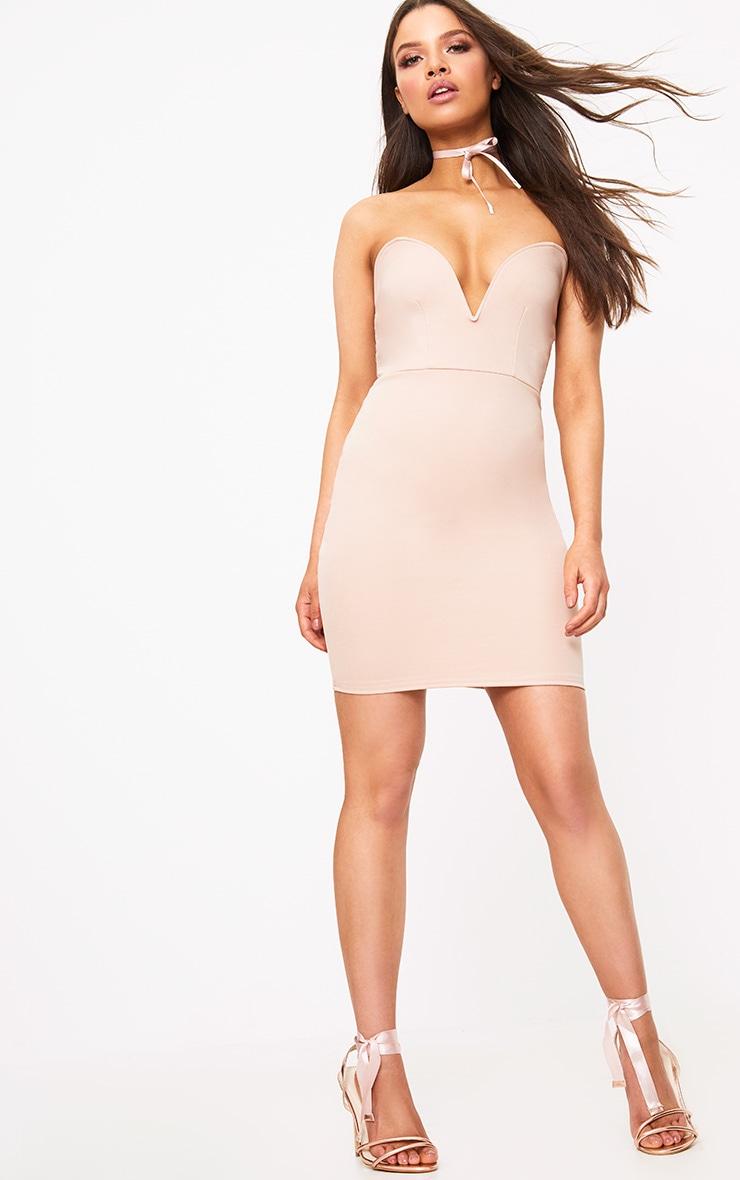 Vienna Nude Bandeau Bodycon Dress  4