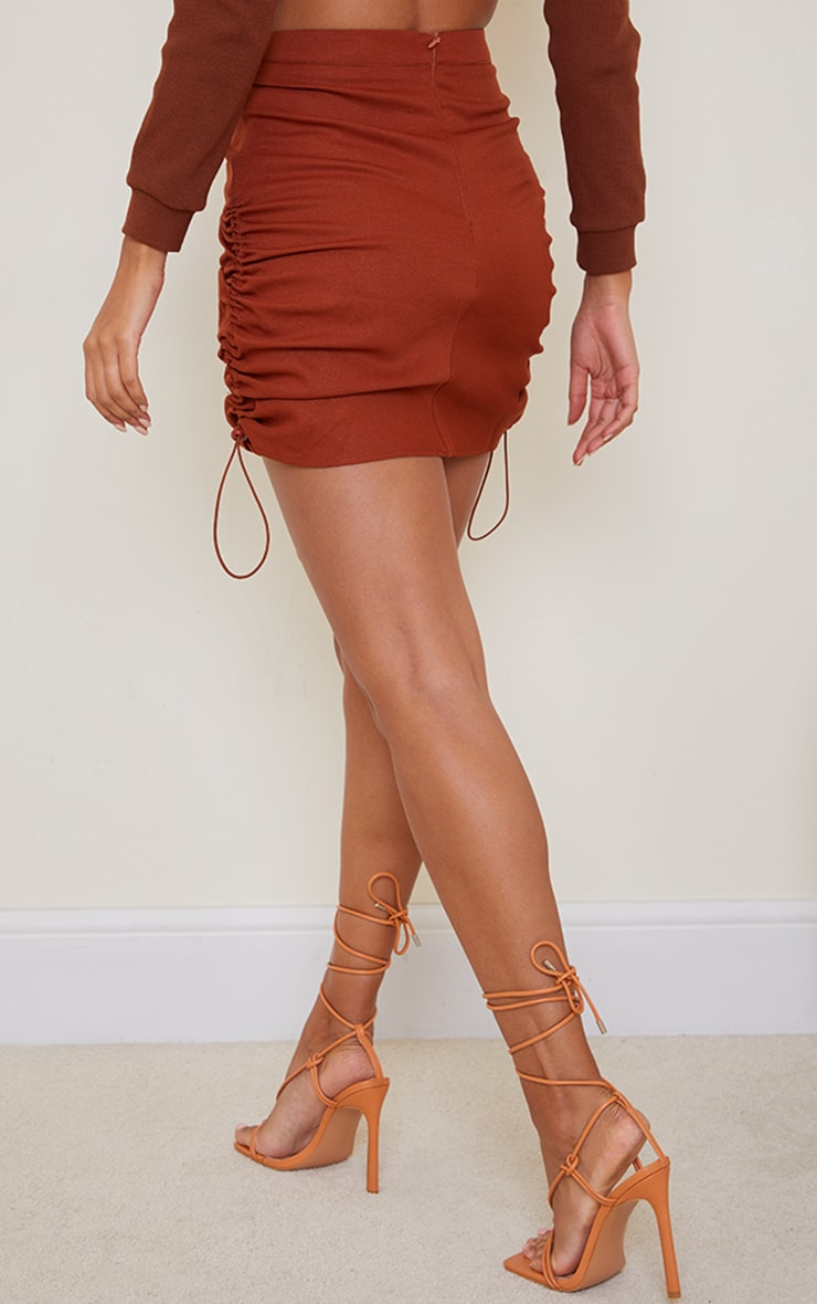 Rust Woven Ruched Detail Toggle Mini Skirt 6