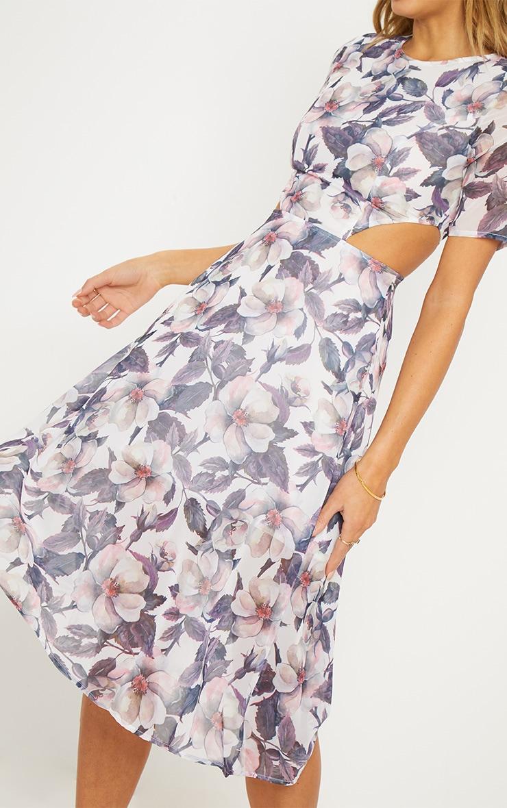 Grey Floral Cap Sleeve Cut Out Midi Dress 5
