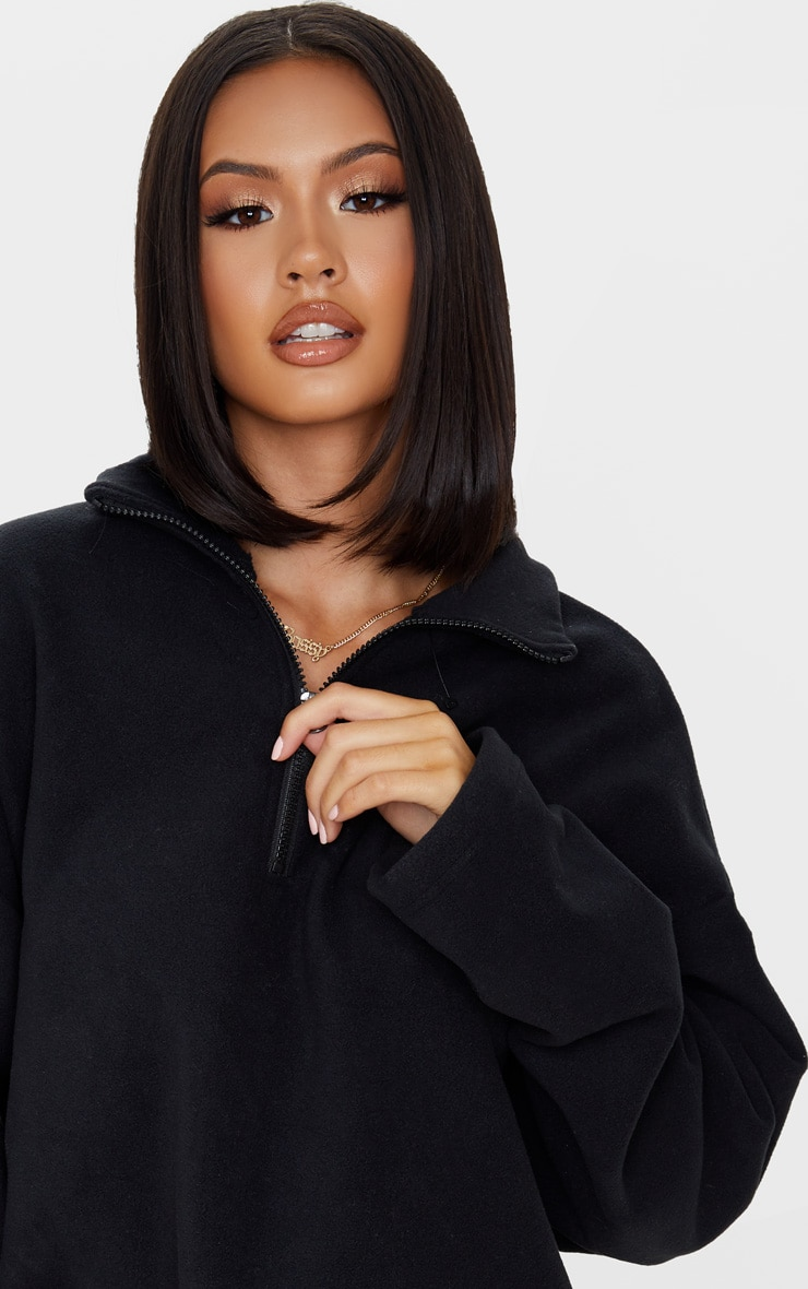 Black Zip Front Crop Fleece Sweater 5