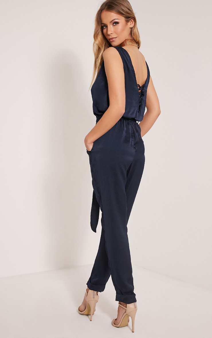Sirena Navy Silky Button Front Jumpsuit 1
