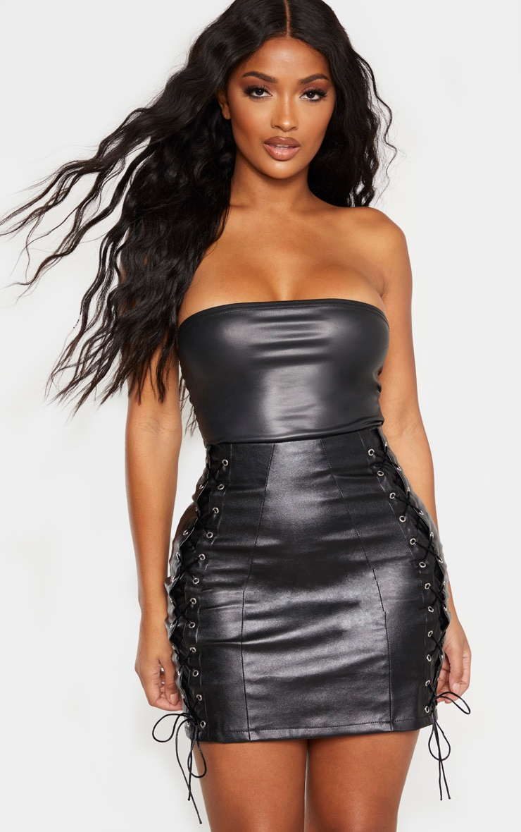 Shape Black PU Lace Up Bodycon Skirt 1