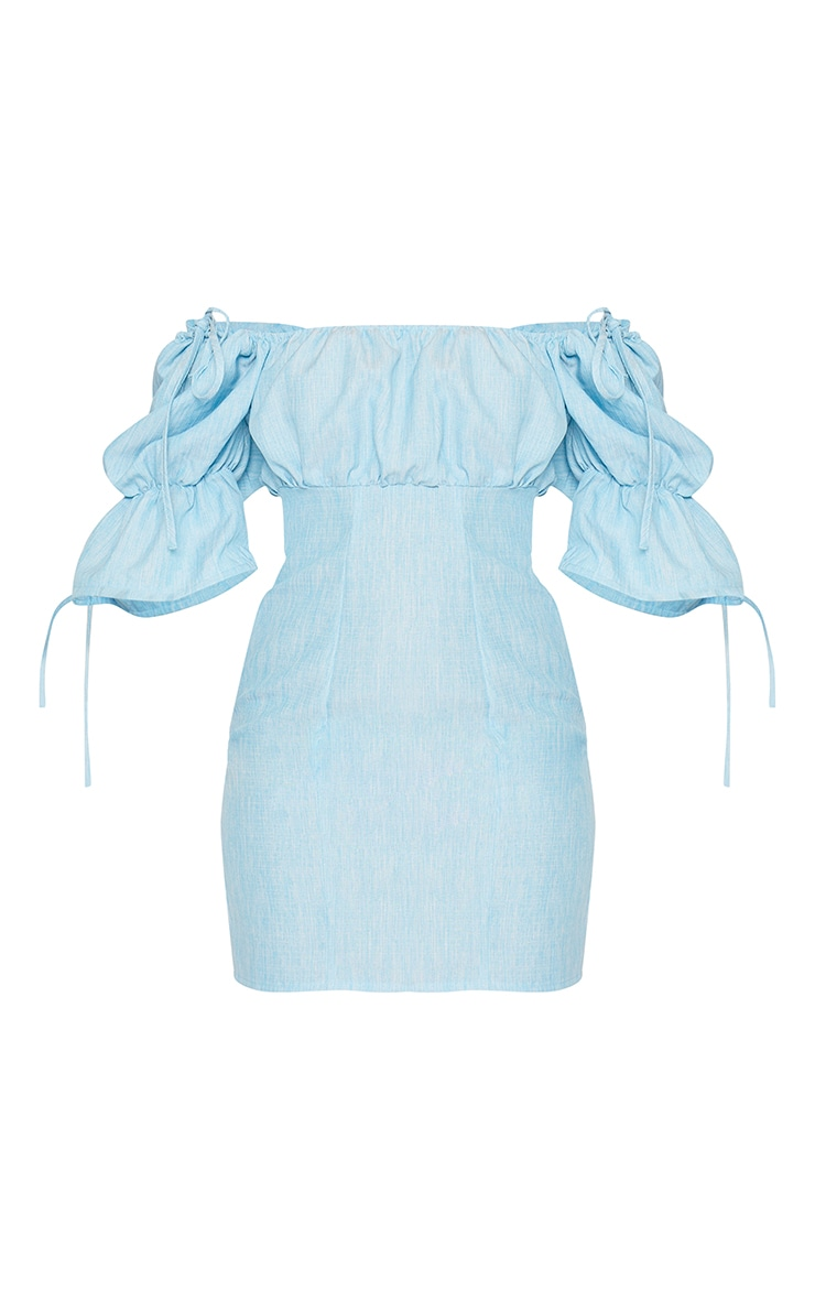 Baby Blue Linen Ruched Sleeve Tie Detail Shift Dress 5
