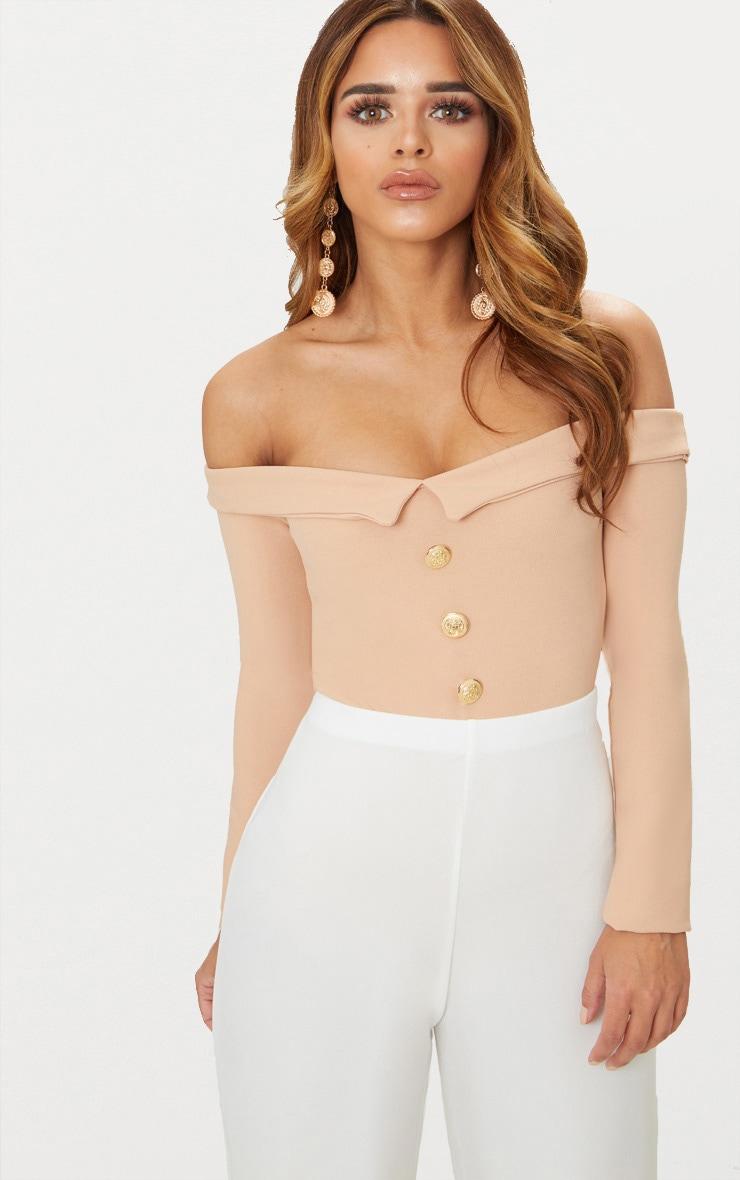 Petite Nude Button Front Tux Detail Long Sleeve Bodysuit  1