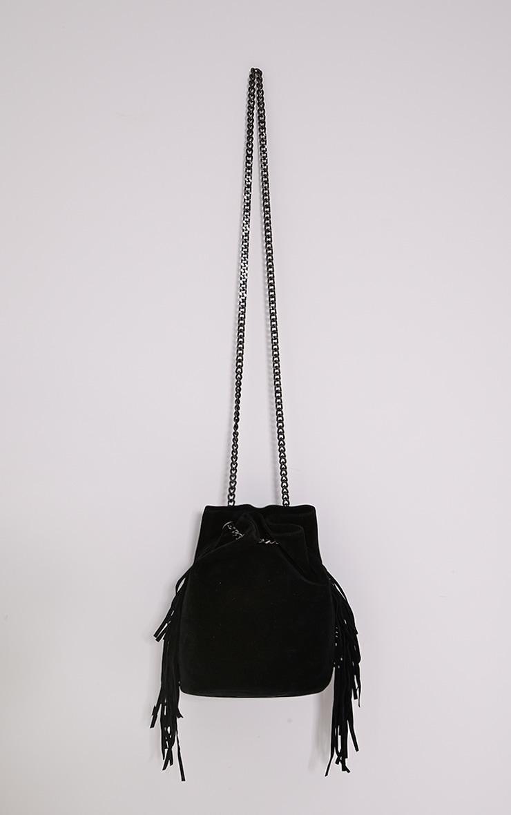 Letty Black Suede Fringe Bucket Bag 1
