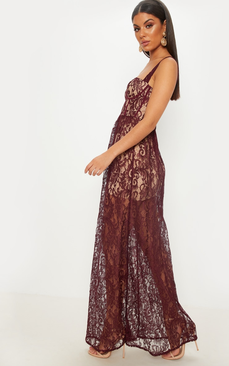 Burgundy Lace Cup Detail Floaty Maxi Dress 3