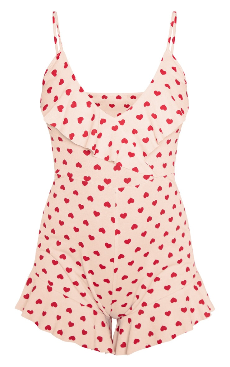 Pink Heart Print Strappy Frill Romper 3