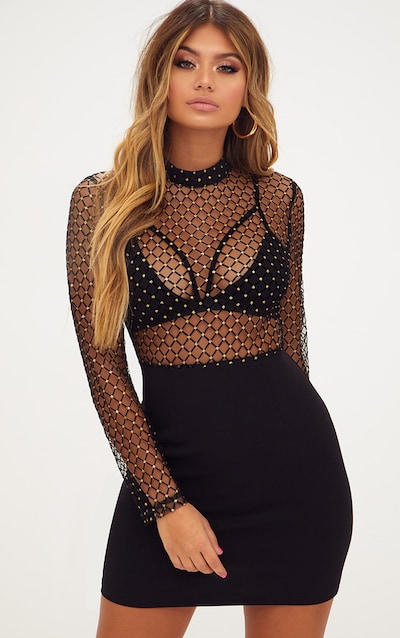 Black Criss Cross Mesh Top Bodycon Dress f5205370144f