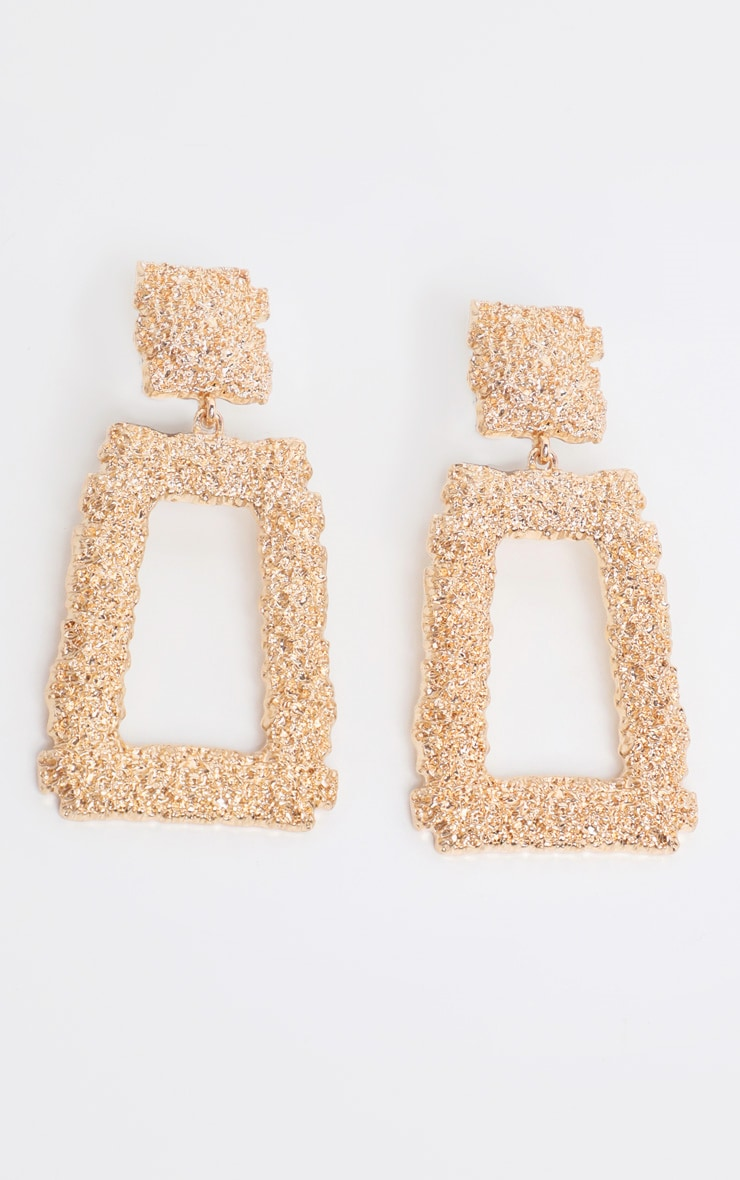 Gold Textured Square Drop Statement Earrings 2