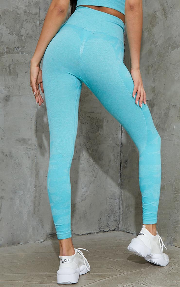 Blue Seamless Camo Panel Gym Leggings 3