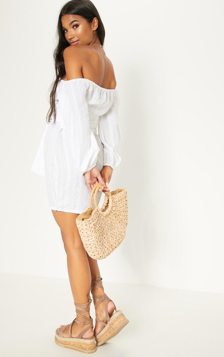 White Bardot Wrap Balloon Sleeve Tortoise Shell Button Sheer Bodycon Dress 2