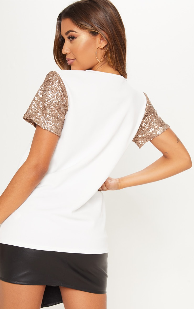 White Sequin Sleeve Oversized T shirt 2