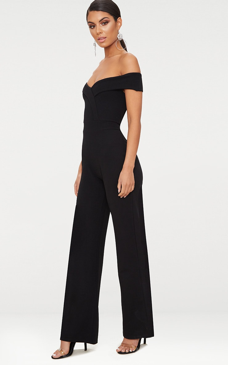 Black Crepe Bardot Folded Detail Jumpsuit 4