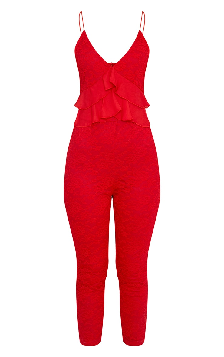 Kaidy Red Lace Frill Jumpsuit 3