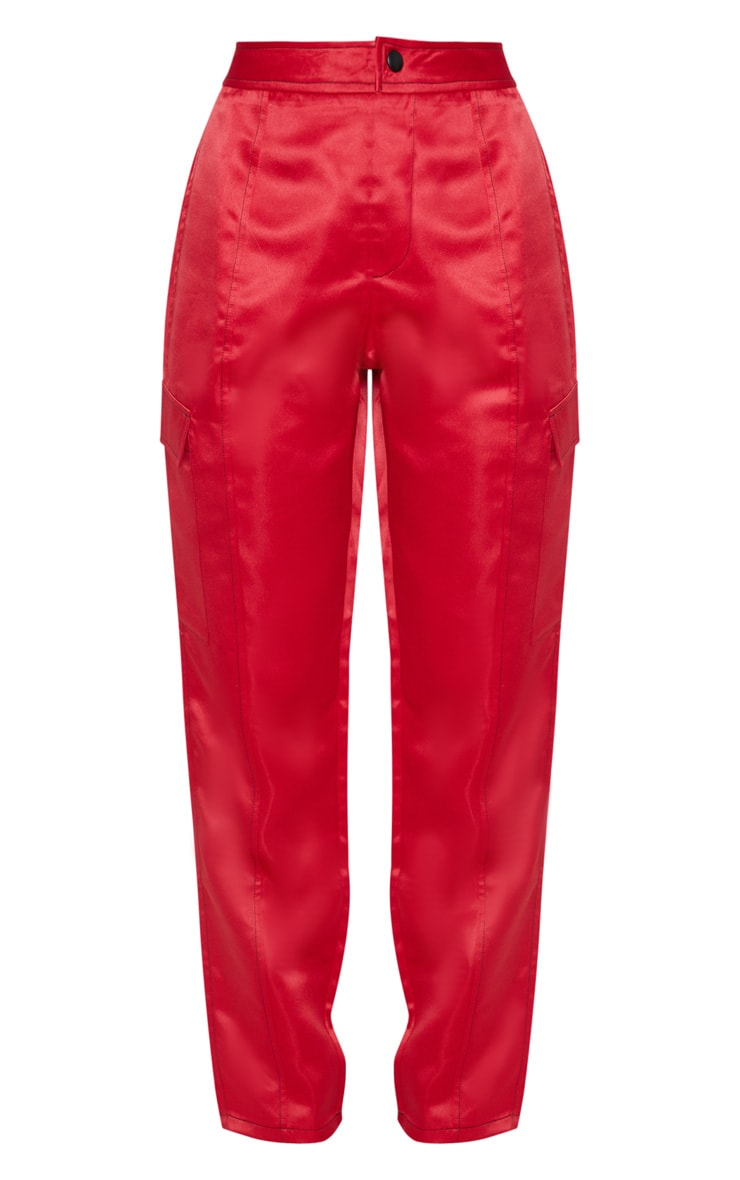 Red Contrast Stitch Pocket Detail Cargo Trouser 3