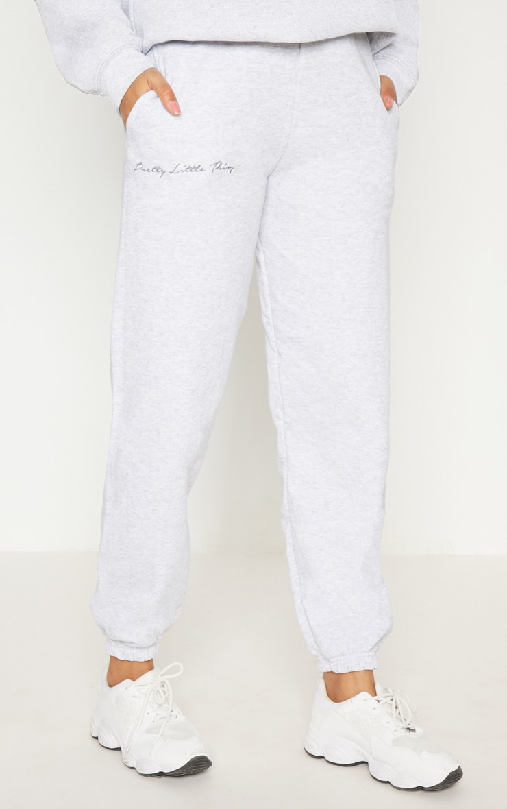 PRETTYLITTLETHING Grey Embroidered Track Pants 2