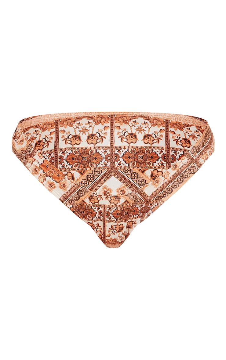Maternity Brown Under Bump Tapestry Print Bikini Bottoms 5