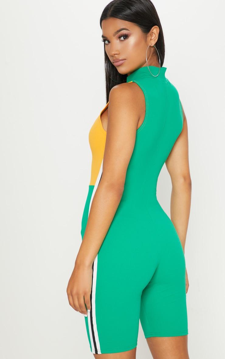 Green Sports Trim Zip Unitard 2