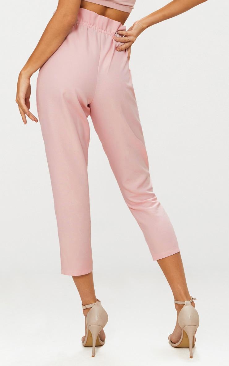 Blush Woven Paperbag Slim Leg Trousers 4