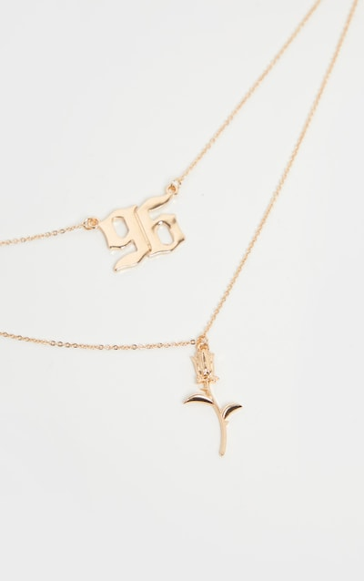 Gold 96 And Rose Pendant Layering Necklace