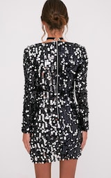 2afa682b Janelle Black Long Sleeve Plunge Sequin Bodycon Dress - Dresses ...
