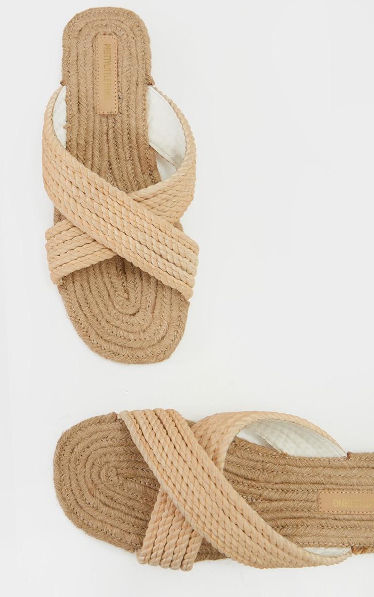 Nude Rope Cross Strap Mule Sandal 4