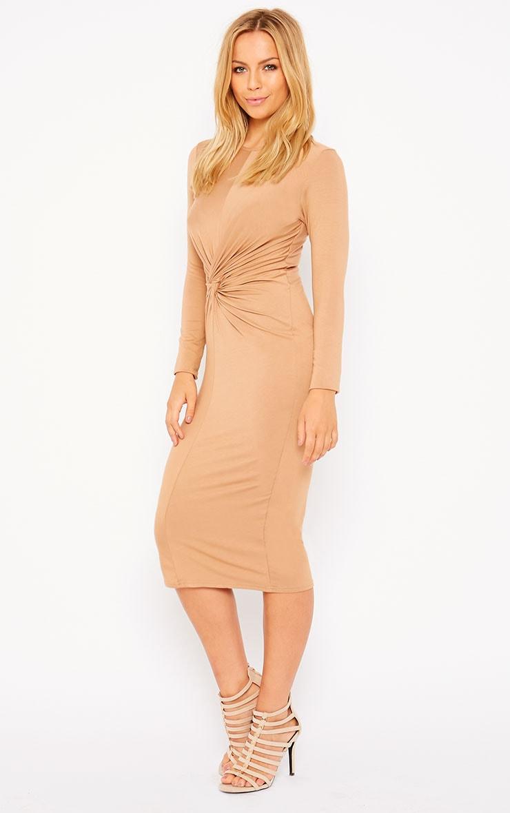 Kenna Camel Knot Front Midi Dress 4