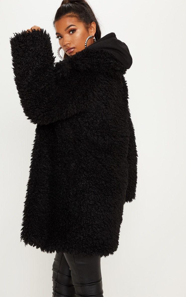 Black Teddy Faux Fur Coat   2