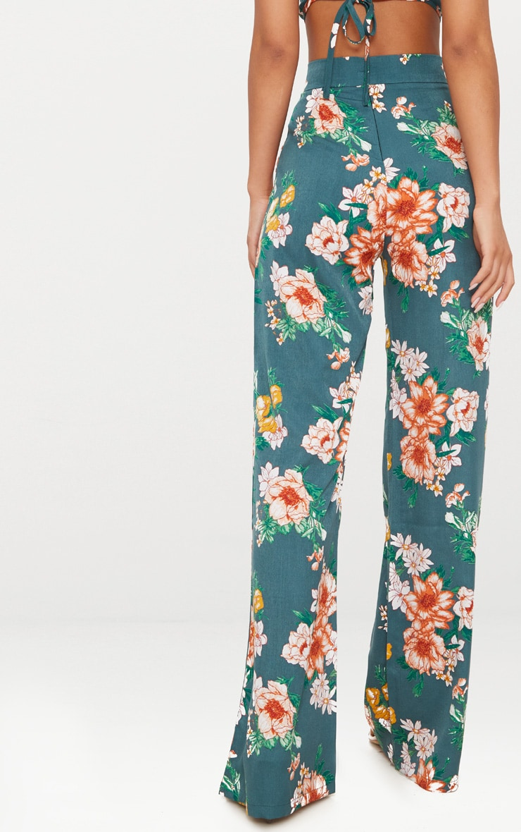 Emerald Green Floral Print Wide Leg Trousers 3