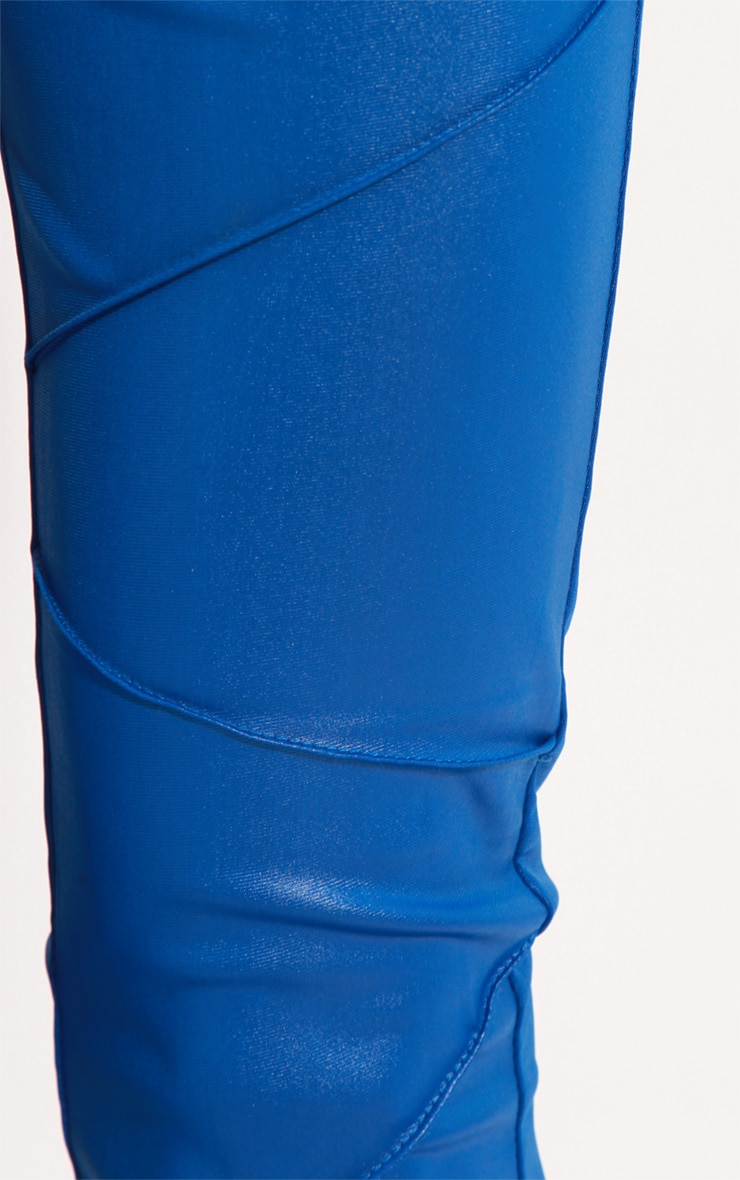 Evie Electric Blue Leather Panel Leggings 5