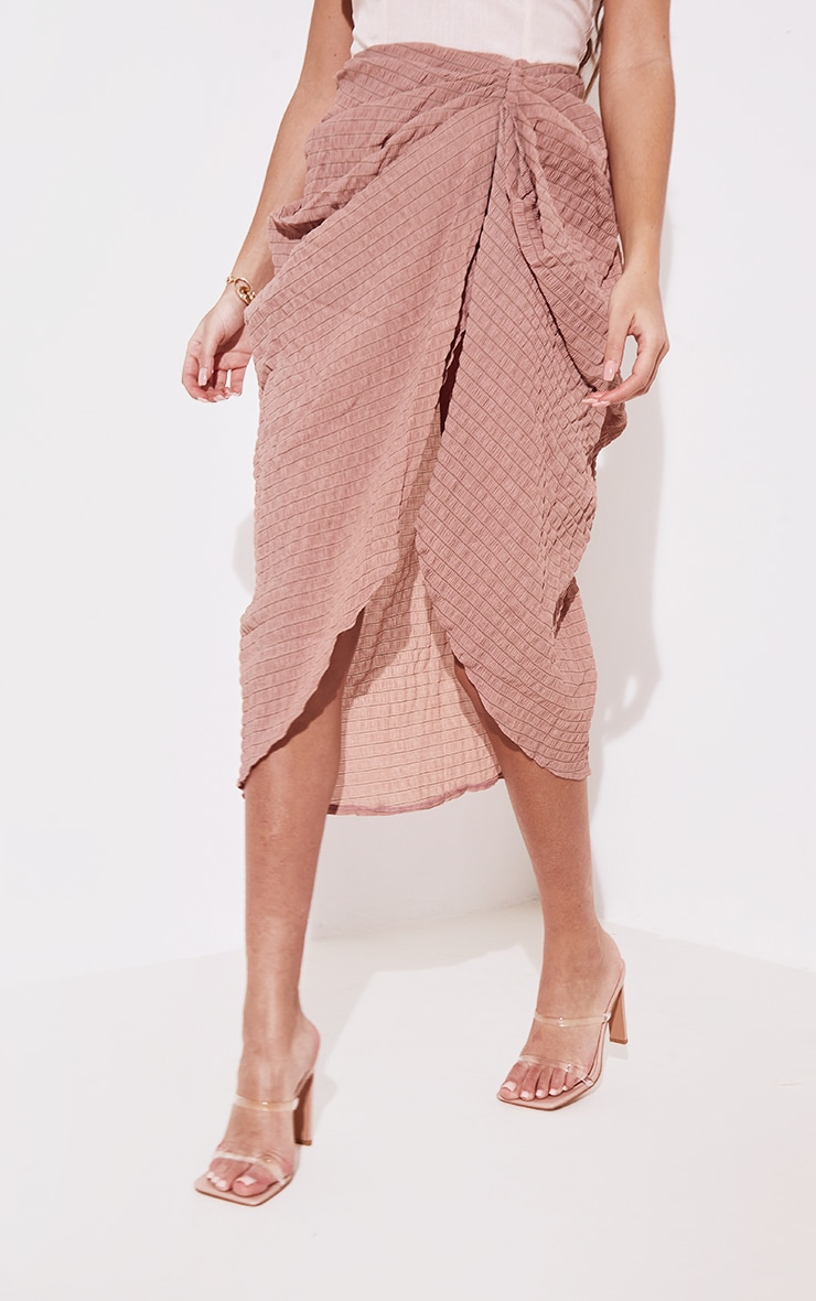 Taupe Textured Crepe Ruched Side Midi Skirt 2