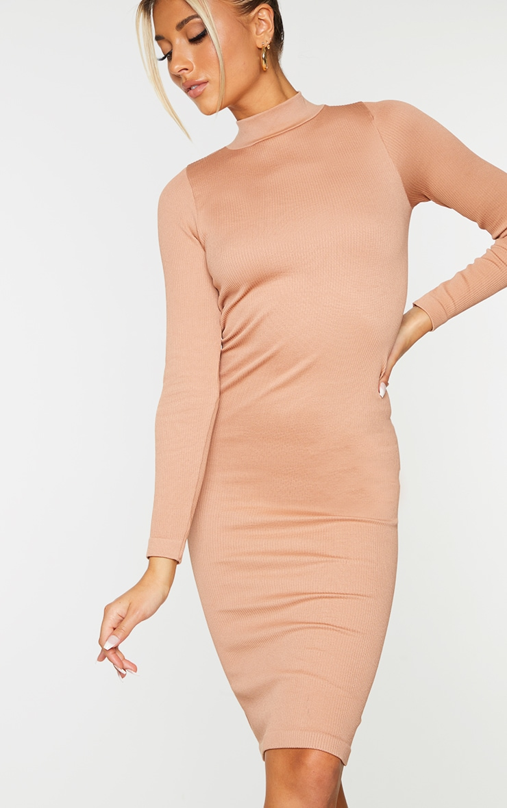 Taupe Structured Contour High Neck Midi Dress 4