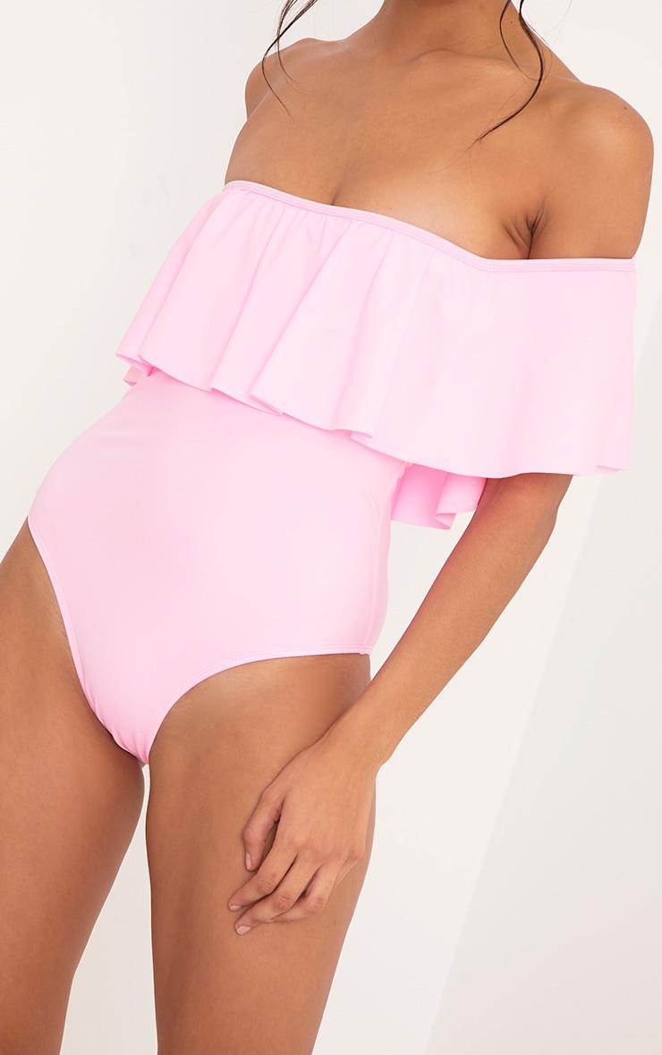 Mia Pink Bardot Frill Swimsuit  6