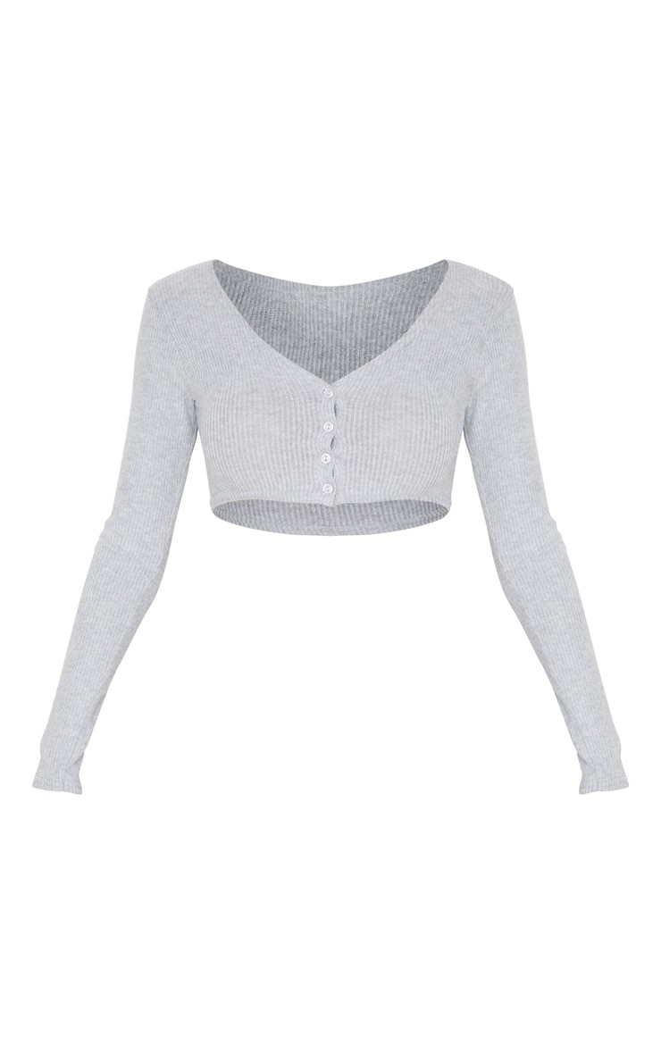 Grey Brushed Rib Button Up Long Sleeve Crop Top 3