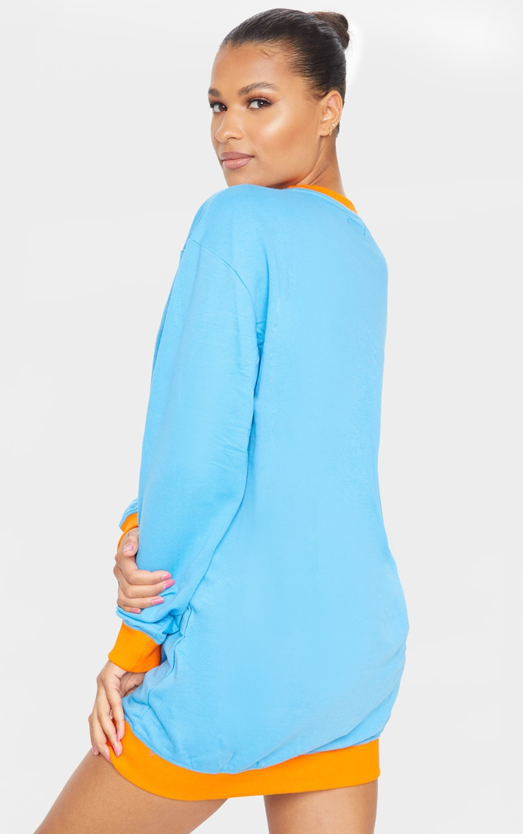 PRETTYLITTLETHING Aqua Contrast Trim Oversized Sweater Dress 2