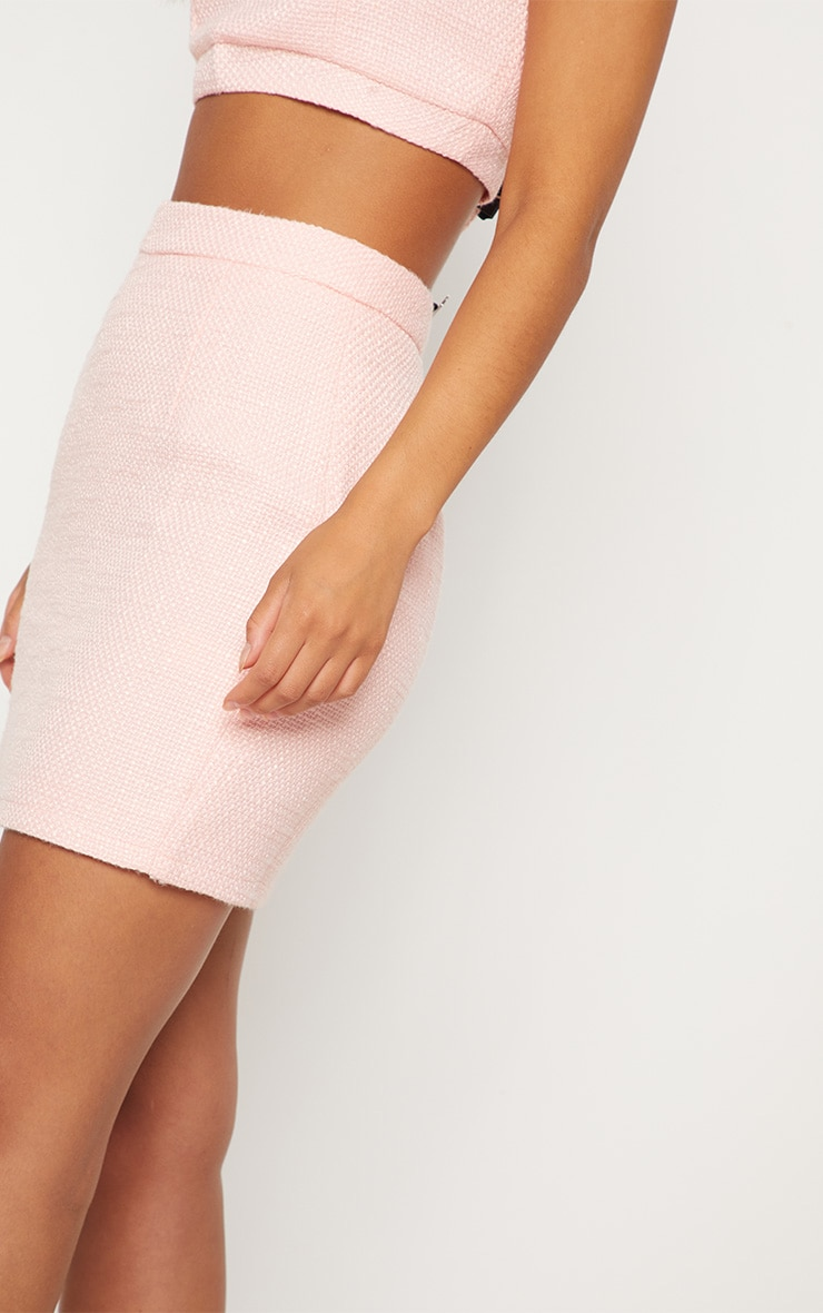 Pastel Pink Boucle High Waisted Skirt 7