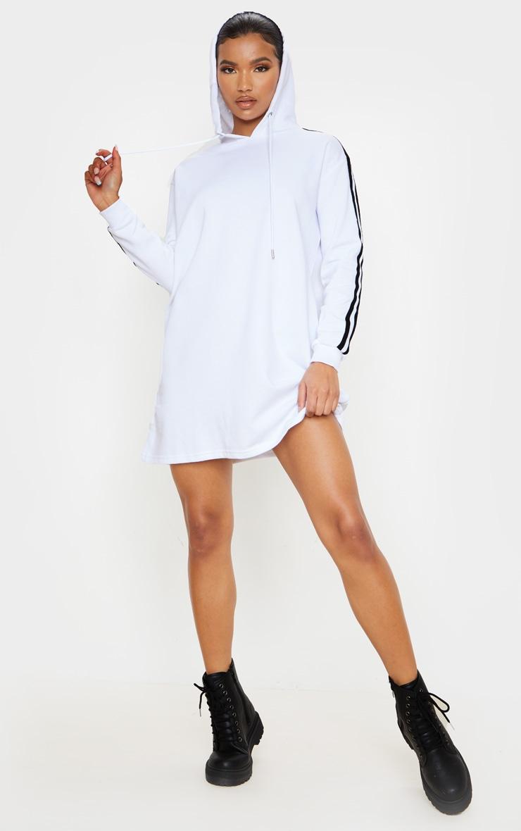 White Tape Detail Long Sleeve Hoodie Dress 4