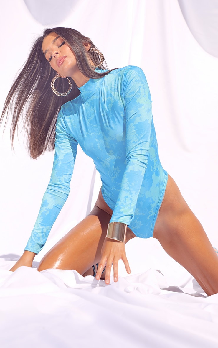 Aqua Slinky Tie Dye Cut Out Back Detail Long Sleeve Bodysuit 1